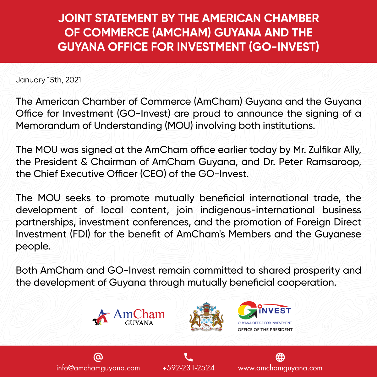 Joint Statement by AmCham Guyana and GO-INVEST