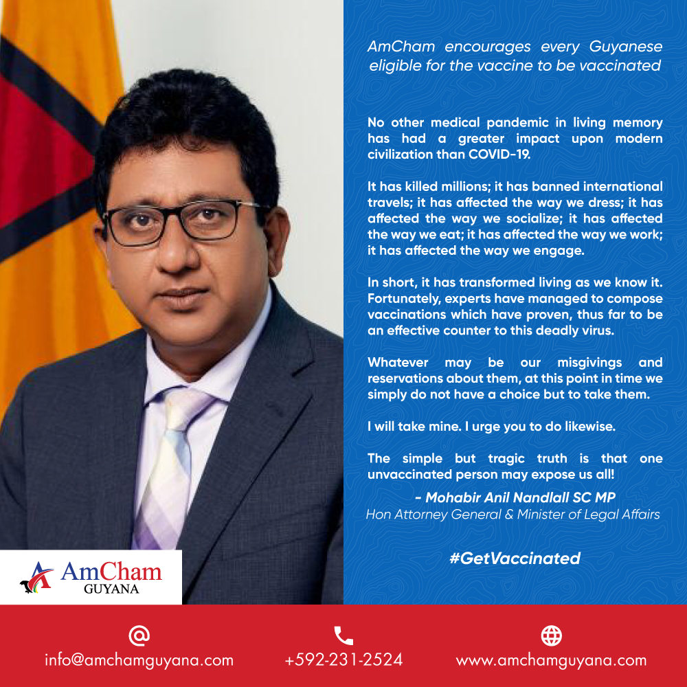 Anil, AmCham Guyana encourages every eligible Guyanese to #GetVaccinated!