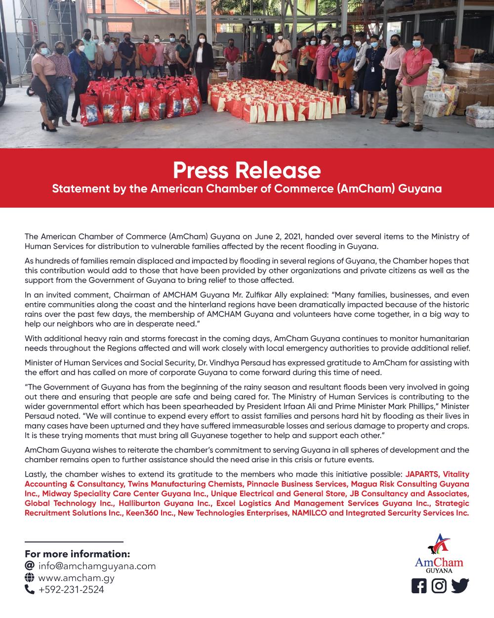 amcham flood relief statement