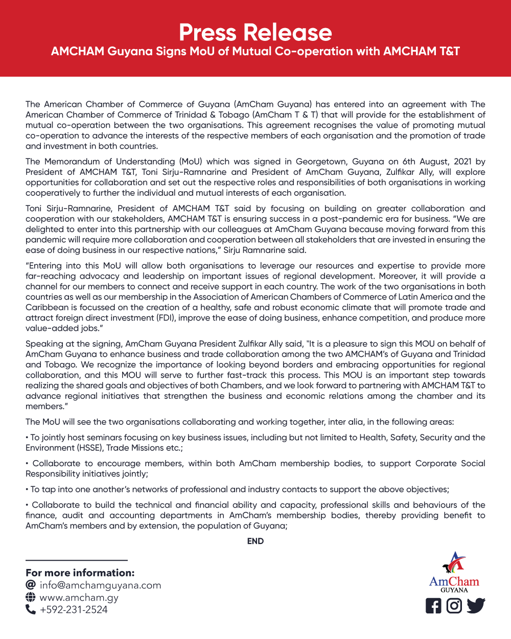 Press Release - MOU with AmCham T&T